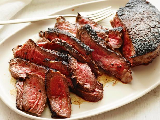 Coffee-rubbed Steak with Bacon and Spring Vegetables