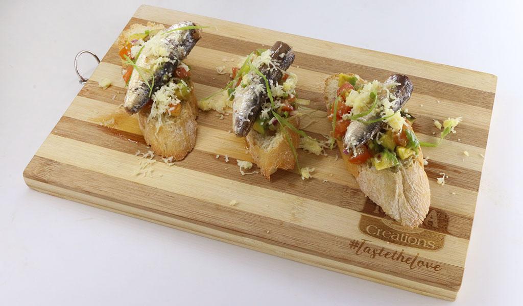 Creations Sardines Avocado Bruchetta