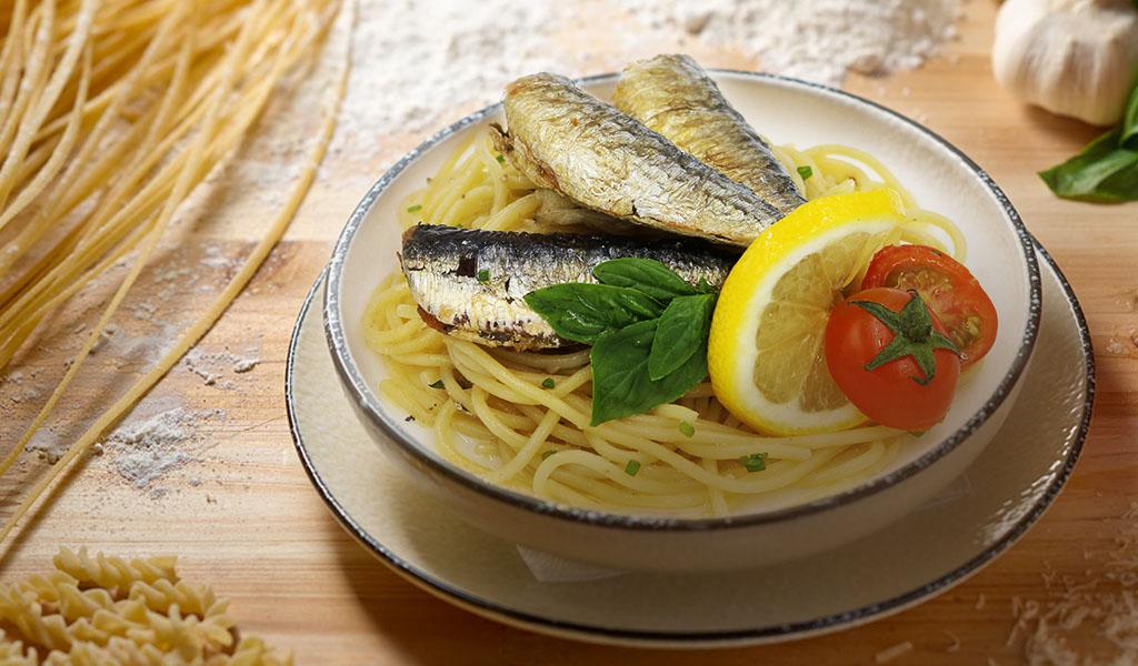 Creations Sardines Spaghettini Aglio Olio