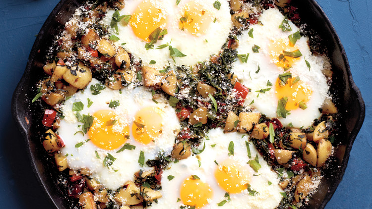 Mushroom and Brown Rice Hash with Eggs