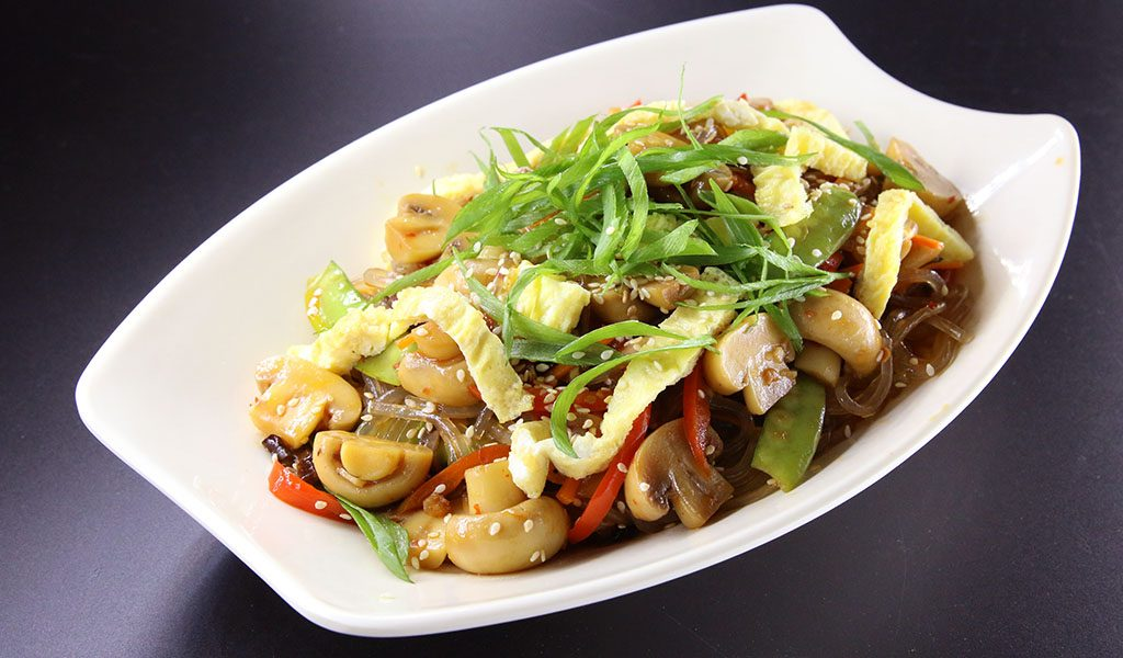 Prime Whole Button Mushrooms and Vegetable Japchae
