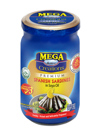 Mega Creations Spanish Sardines in Soya Oil 225