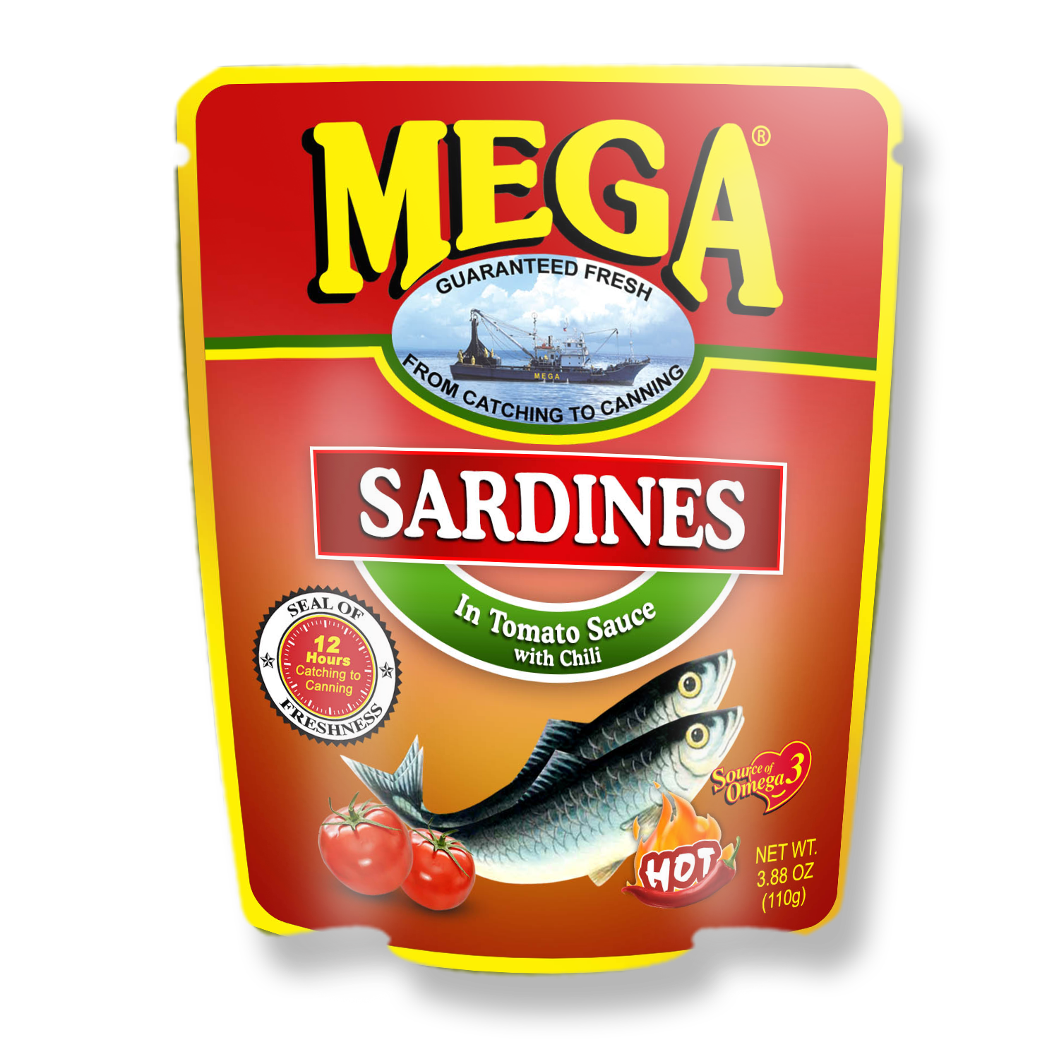 Mega Sardines Tomato Saunce with Chili in Pouch 110g